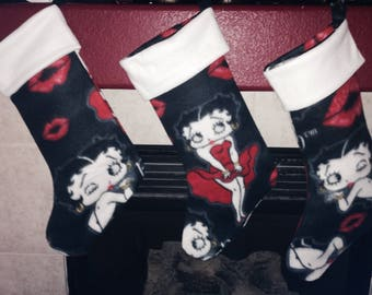 Betty Boop Christmas Holiday Stocking Facing Either Way