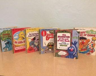Six 1970s-80s Classic Sesame Street Little Golden Books - Jim Henson, Muppets, Big Bird, Ernie, Oscar the Grouch, Grover, Cookie Monster