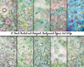 Chic Floral Wallpapers, Shabby Digital Papers, Water Color Paper, Scrap booking paper,Spring Paper Pack, Personal and Commercial Use