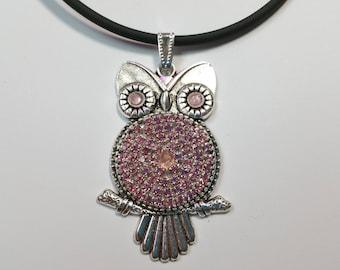 "Pendant ""Glitter Owl Pink-Silver"""