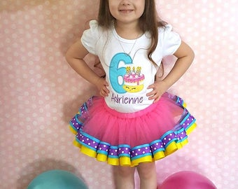 Wishes Birthday Outfit ~ Cake Tutu Outfit ~ Includes Top and Ribbon Tutu ~ Customize in Any Colors!!
