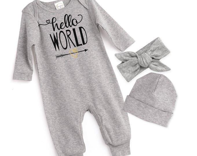 Newborn Girl Take Home Romper, Baby Girl Romper, Baby Girl Hello World Bodysuit, Gray Romper Cap, Hello World, TesaBabe