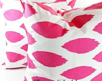 SALE Pillow cover .Chipper. Hot pink chipper Pillow cover. Set of two. Pink and white. Select your size