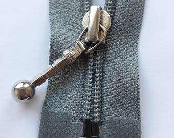 Tin grey nylon 5 vintage zipper divisible size 5 (YKK) zipper Cremallera cipzár молния, cerniera, fermeture à glissière רוכסן
