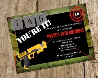 Laser Tag Camo Party Birthday Invitation, Printable
