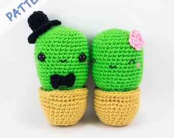 Cactus Couple Amigurumi Crochet Pattern (PDF), plush cactus couple DIY wedding gift