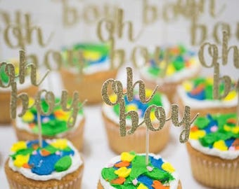 12 Glitter 'oh boy' Cupcake Toppers for Baby Shower, Gender Reveal or Special Event.
