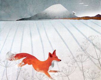 North Berwick Law and Fox in Snow card