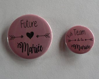 Bohemian wedding bachelorette party badges.