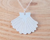 Hand Made Sterling Silver Etched Shell Necklace Matching Jewellery Underwater Themed Jewellery Sea Jewellery Shell Pendant