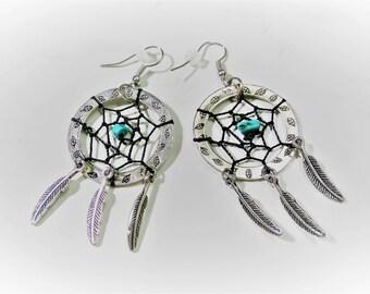 Dreamcatcher Earrings, Turquoise Dream Catcher Statement Earrings, Tribal Feather Earring, Southwestern Earrings, Boho  Dreamcatcher Jewelry