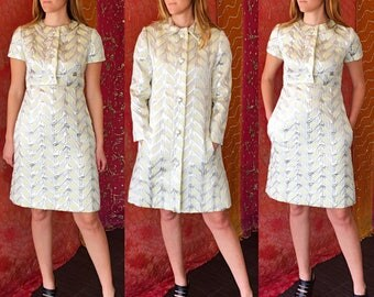 Malcolm Starr Dress Brocade Silver Dress Suit Vintage 60s Brocade Dress Suit