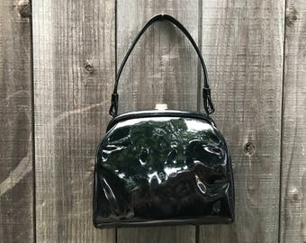 1950's Patent Leather Evening Bag with Fancy Red Interior