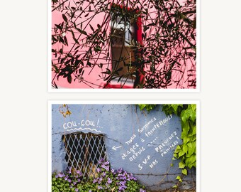 """France Travel Photography, """"Windows High and Low in Trentemoult"""", Set of 2 Fine Art Prints, Gallery Wall, Home Decor, Gift"""