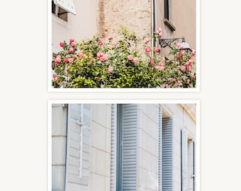 """France Travel Photography, """"Roses and Shutters"""", Set of 2 Fine Art Prints, Gallery Wall, Home Decor, Gift"""
