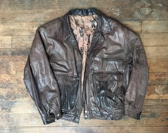 Vtg Brown Leather Bomber Jacket - Large Mens - Vintage Clothing - Montreal Fashion - Mens Clothing -