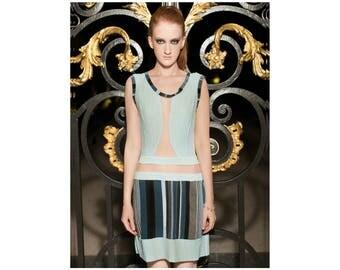 Robe INSTANT Unique taille 36/38 - Création AD - vêtement - mode - femme - fashion -  tulle/ lycra/ bleu/ rayure