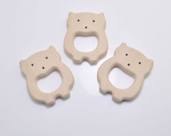 5pcs Natural Wood Teether,Pig Pendant,High-Quality Untreated Wood Teething Toy/Pendant. DIY Supplies for Safe Teething Necklace.