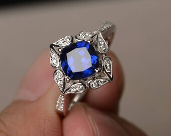 Blue Sapphire Ring Engagement Ring September Birthstone Ring Cushion Cut Blue Gemstone Sterling Silver Ring