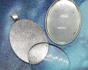One Silver Effect Oval Pendant Blank Bezel Tray Setting // with Clear Round Glass Cabochon (30mmx40mm) // APB009