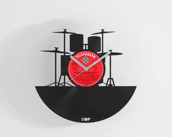 Drummer wall clock from upcycled vinyl record (LP) | Hand-made gift for drummer musician | Unique home wall decoration gift for drums player