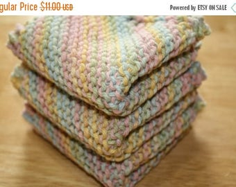 10% OFF SALE Pastel Knit Dish Cloth Set of 3