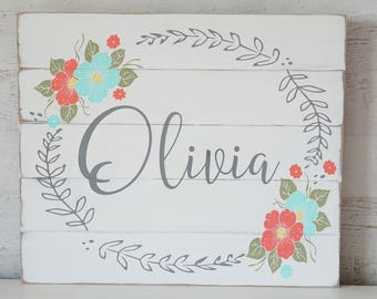 Personalized Nursery Sign Boho Chic Nursery Theme Baby Shower Gift Nursery Wall Decor Hand painted flowers coral