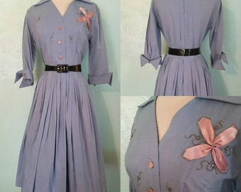 1950's Baby Blue Dress with Baby Pink Accents