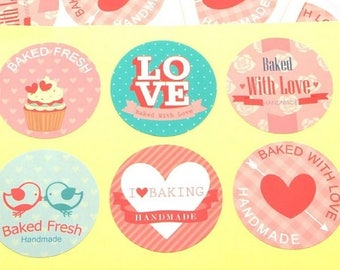 6 Homemade pastel stickers - home made biscuit sticker