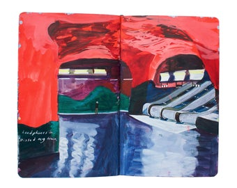 """Fine Art Print of Stockholm Cityscape Painting from Artist Sketchbook - """"Stockholm Subway"""""""