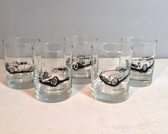 Rocks Glasses with Vintage Cars / Lowball Glasses with Classic Antique Car Motif / Set of 5