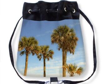 Palm Tree Cinch Sack-Beach Cinch Bag-Palm Tree Bag-Canvas Backpack-Palm Tree Purse-Beach Bag-Boat Bag-Tropical Cinch Bag-Drawstring Bag