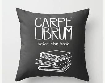 Christmas in July Decorative Throw Pillow Cover Carpe Librum Home Decor Case Livingroom Bedroom Couch Office Seize Book Library Nerd Read Re