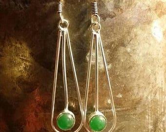 65%OFF SALE Green Onyx Earrings Gemstone  .925 Sterling  Silver