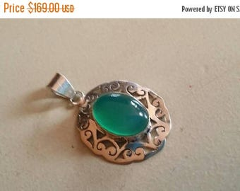 Holiday SALE 85 % OFF Green Onyx Pendant Gemstones  . 925 Sterling Silver