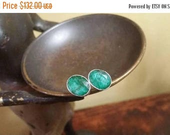Holiday SALE 85 % OFF Emerald stud posts  Sterling silver Earrings Gemstone  .925