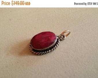 Holiday SALE 85 % OFF Ruby  Pendant Gemstones  . 925 Sterling Silver