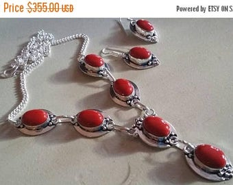 Holiday SALE 85 % OFF Red Coral    Necklace  Chain Earrings  Gemstone  Sterling Silver Set