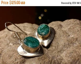 Holiday SALE 85 % OFF Emerald  Earrings .925 Sterling Silver Gemstone