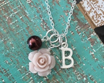 Personalized Initial Beige/Tan/Brown Rose Flower Girl Necklace Bridesmaids Necklace