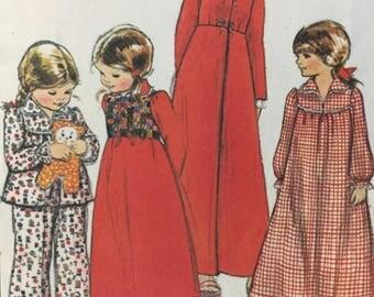 1970s, McCall's 5318 Children's Robe, Bolero, Nightgown, Pajamas Vintage Sewing Pattern, High Waisted Robe, Snap  Bolero, Ruffled Pajama