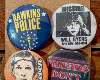 Stranger Things - 4 pack pin button / badge set (set 2) - Hawkins , Eleven