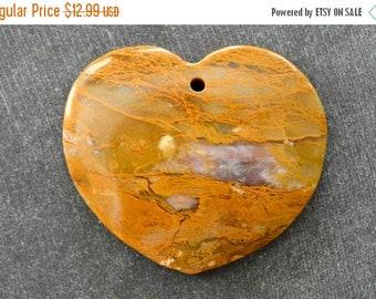 20% SALE 42mm Agate Pendant Yellow Gemstone Heart Pendant 42x38x7mm Natural Stone Yellow Agate Heart Pendant Bead Untreated
