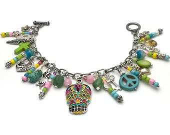 Sugar skull bracelet, charm bracelet, Hippie bracelet, boho accessories bracelet, day of the dead bracelet, skull jewelry bracelet