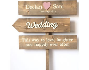 Wedding sign, personalised wooden sign, wedding decor, rustic sign post