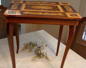 Mid Century Italian Marquetry Table Musical Jewelry Box With Key Accent  Table Wood Inlays Handmade