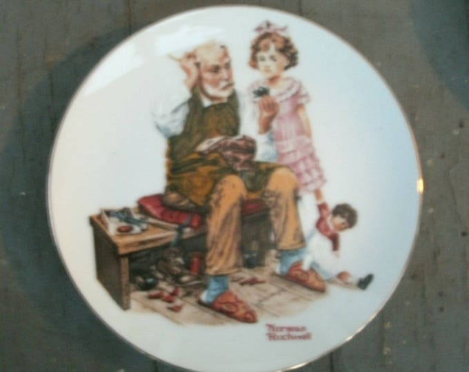 "Norman Rockwell 6"" Collectors Plate: ""Four Beloved Classics""; The Cobbler, 1982, vintage plate, collector plate, miniature, home decor, gift"