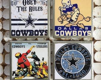 COASTERS!! Vintage inspired Dallas Cowboys coasters with silver trim