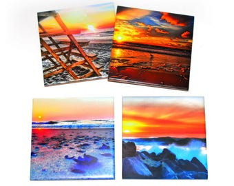 Valentines Day Gift For  Beach Lovers / Beach Coaster Set of 4 / Ceramic Tile Coasters For Drinks / Colorful Coasters
