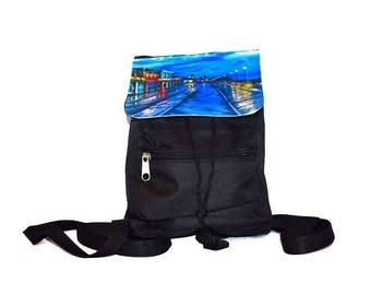 SALE Mini Drawstring Backpack / Mini Beach Bag / Black Nylon, Khaki Canvas, or Blue Denim / Slouchy Straps / Asbury Park Boardwalk